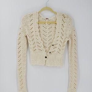 Free People Boho Long Sleeve Knit Cardigan Sweater